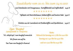 Zum Burghof - Zusatzkarte vom 20.10.2021 bis 24.10.2021